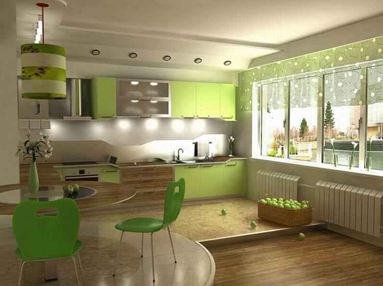 Фисташковый цвет стен в кухни фото
