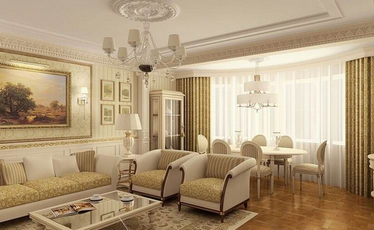 Интерьер гостиной в классическом стиле в светлых тонах фото