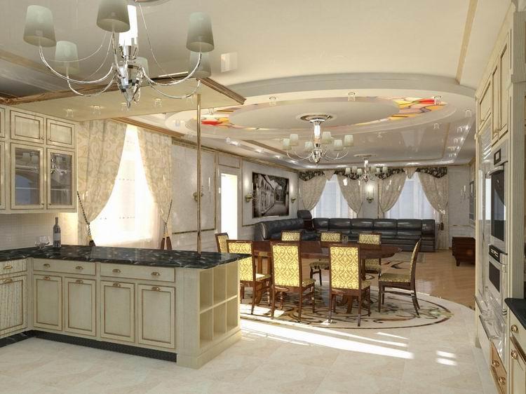 Дизайн кухни совмещенной со столовой в частном доме с