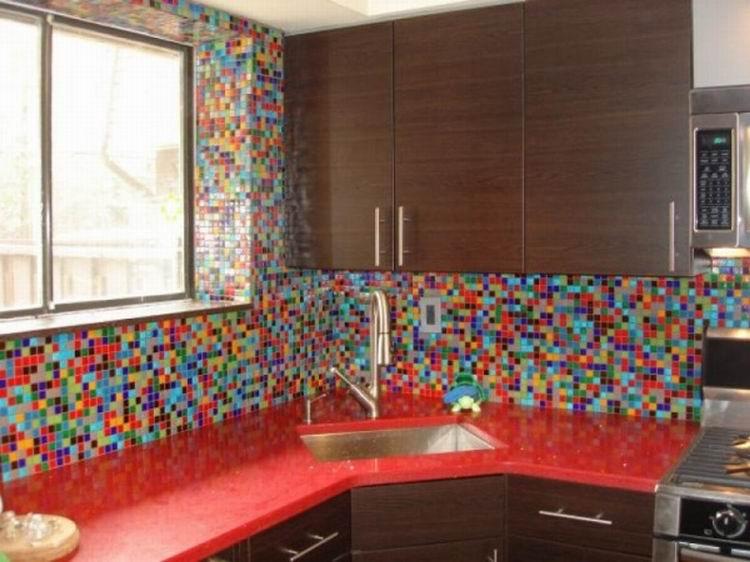 Colorful tile backsplash