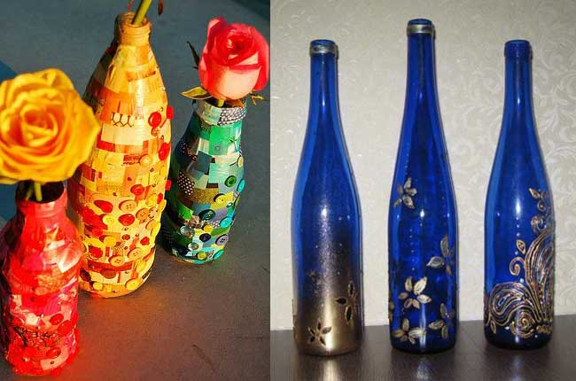 Как украсить стеклянные бутылки своими руками