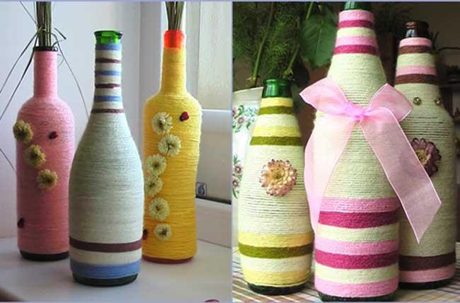 Стеклянные бутылки украсить своими руками