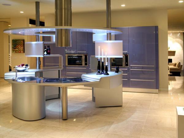 металлический кухонный остров в стиле хай тек