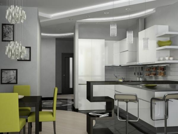 кухня-столовая в стиле хай тек