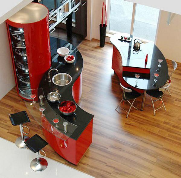 кухня современных форм, вид сверху