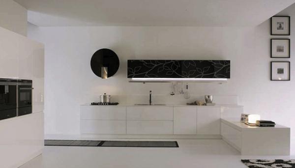 бело-черная глянцевая кухня