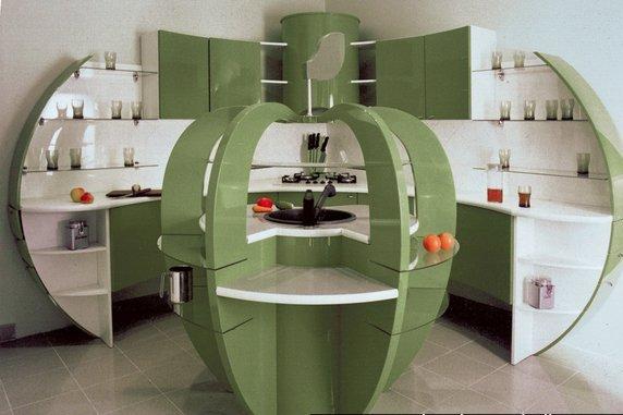 современная кухня оригинальной формы