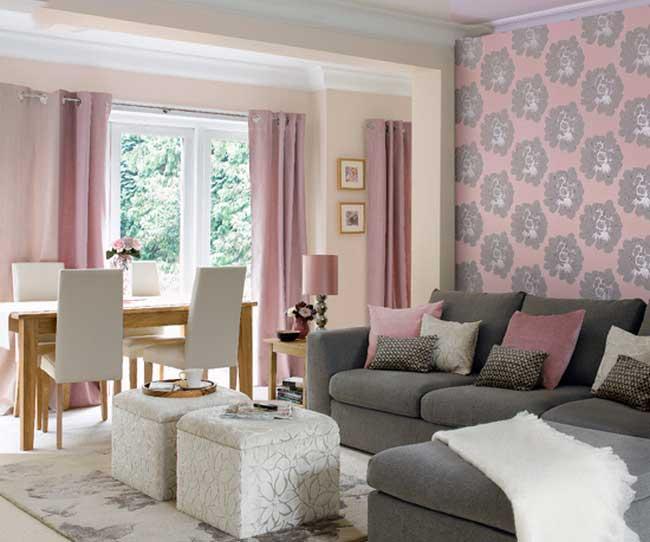 Сочетание розового цвета с серым в интерьере фото