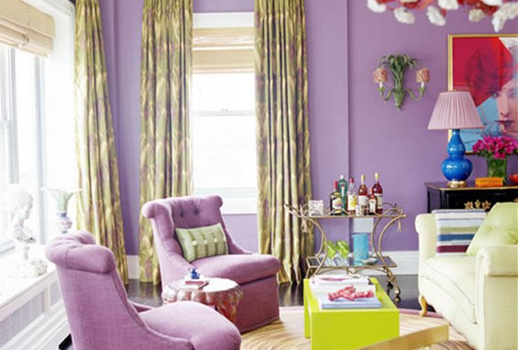 Сиреневый цвет сочетание с другими цветами в интерьере