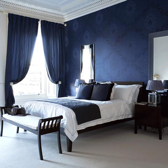 Blue bedroom curtains ideas