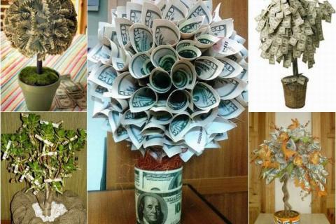 Варианты денежных деревьев из купюр