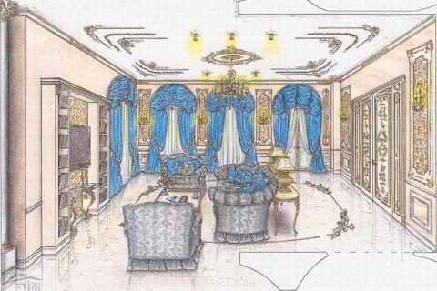 Цветной эскиз интерьера гостиной