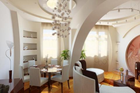 Арка для зонирования небольшой гостиной-столовой