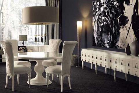 белая мебель в стиле арт-деко