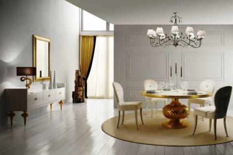 белая мебель с золотым декором