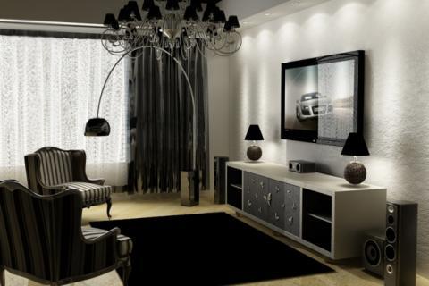 черный цвет в оформлении гостиной