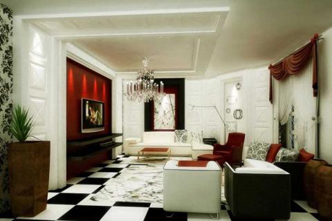Гостиная с плиточным черно белым полом