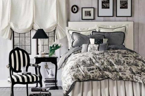 черно белая спальня