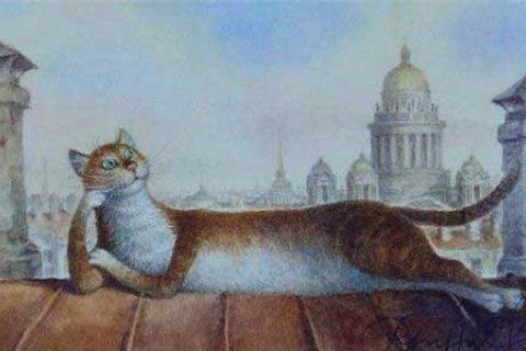 картина кот на крыше