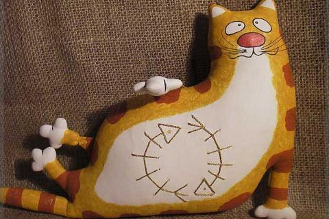 подушка толстый кот