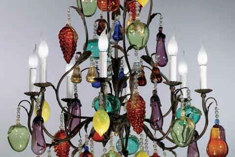 люстра из муранского стекла с имитацией фруктов