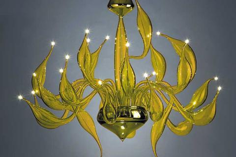 люстра из желтого муранского стекла