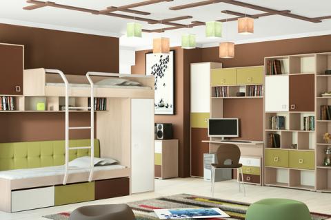 Модульная мебель с двухярусным спальным местом