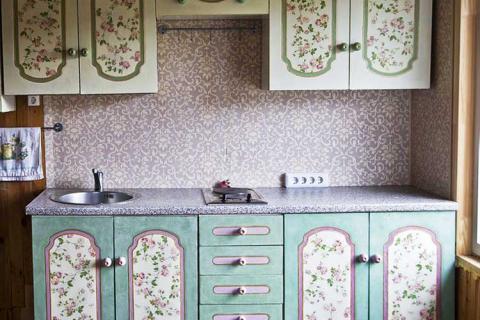 декупаж в кухонной мебели