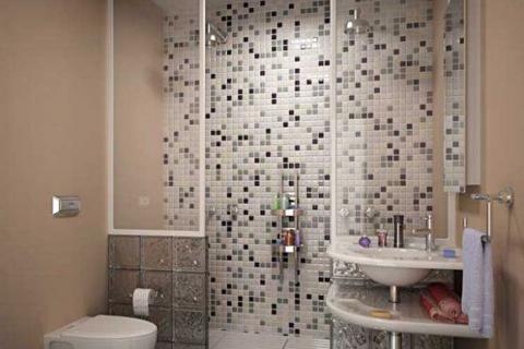 ванная с мозаичной плиткой
