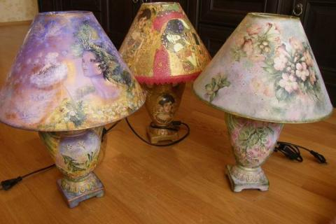 Настольные лампы в стиле декупаж