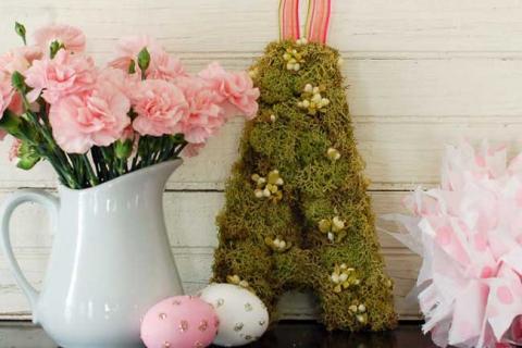бело-розовый пасхальный декор
