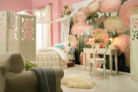 фотообои с крупными розовыми цветами