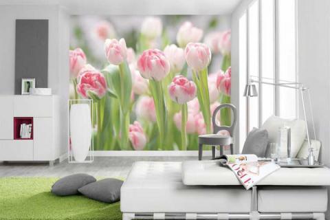 фотообои с розовыми тюльпанами