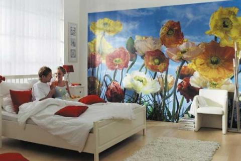 фотообои с яркими цветами