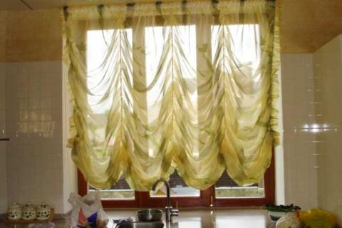 французские шторы из желтого тюля