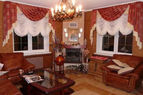 бело-красные французские шторы