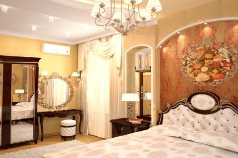 спальня в стиле гламур в теплых цветах