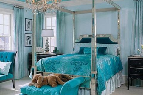 спальня в стиле гламур лазурного цвета