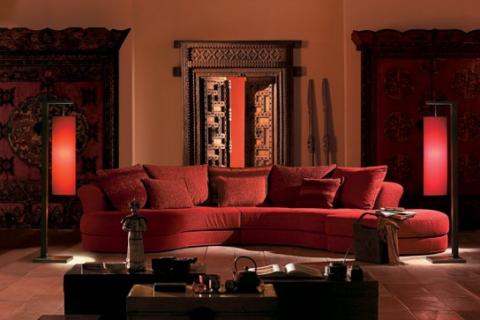 красная гостиная в восточном стиле