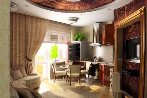 идея богато-декорированной маленькой квартиры