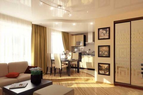объединение кухни и комнаты в 1-комнатной квартире