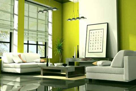 желто-зеленый цвет в оформлении гостиной