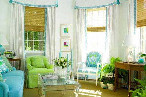 зеленый в сочетании с голубым и белым