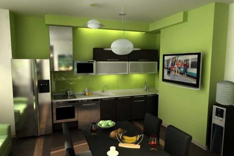 Кухня с зелеными стенами