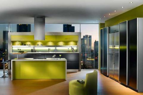кухня в стиле техно в сером и зеленом цветах
