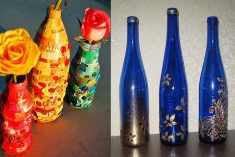стеклянные бутылки украшены своими руками