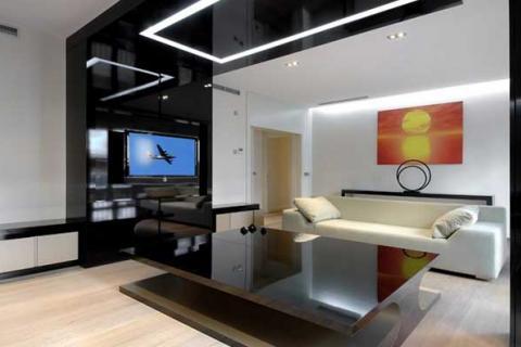 гостиная в стиле техно