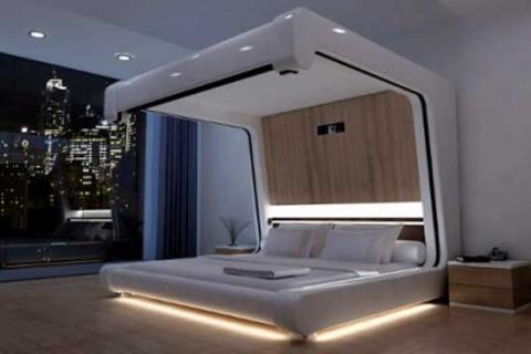 кровать в стиле техно