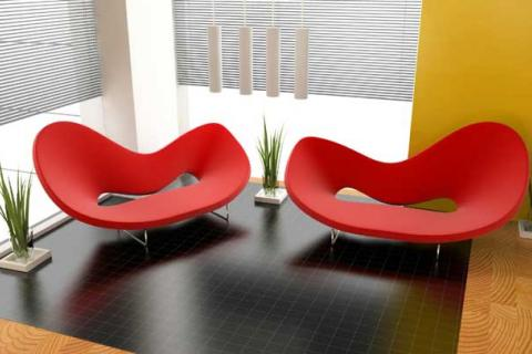 два красных модерновых дивана
