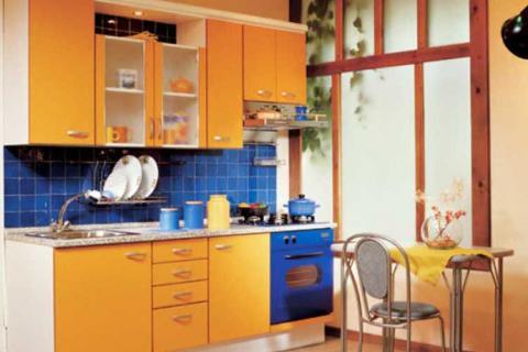 Кухня сине-желтая